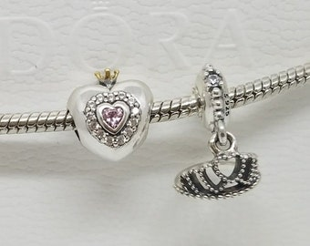 cb06d85cf set of 2 lot Authentic Pandora Pink CZ 'Princess Heart' Silver & Gold Crown  Charm 791375 tiara hearts disney Two Tone Pink Charm 791375PCZ