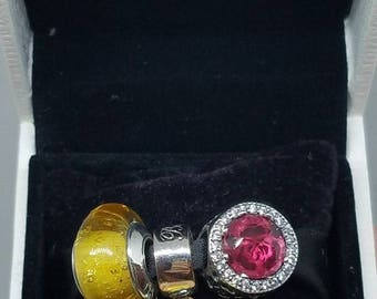 8a83536c8 set of three charms 3 beauty and the beast Belle dress Pandora murano,red radiant  rose 791576ENMX ring yellow glass no box free shipping