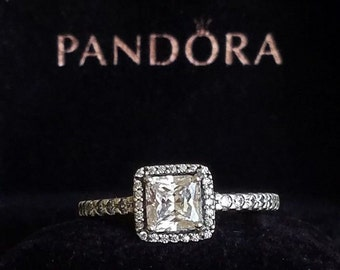 04329959f New w/ defect on the stone Authentic Pandora Timeless Elegance Silver Ring  #190947CZ choose size 5 6 7 8 9 disney gift winterPouch
