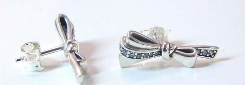 3b7deb5171751 Authentic Pandora Silver Brilliant Bow CZ Stud Earrings 297234CZ 2019  W/Pouch valentine 2019 giftPouch valentine's day