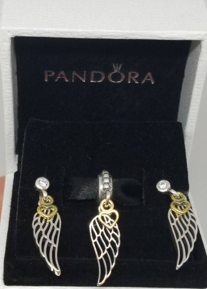 979a2a777 Newset 3 Pandora LOVE and GUIDANCE angel wing & heart earrings | Etsy