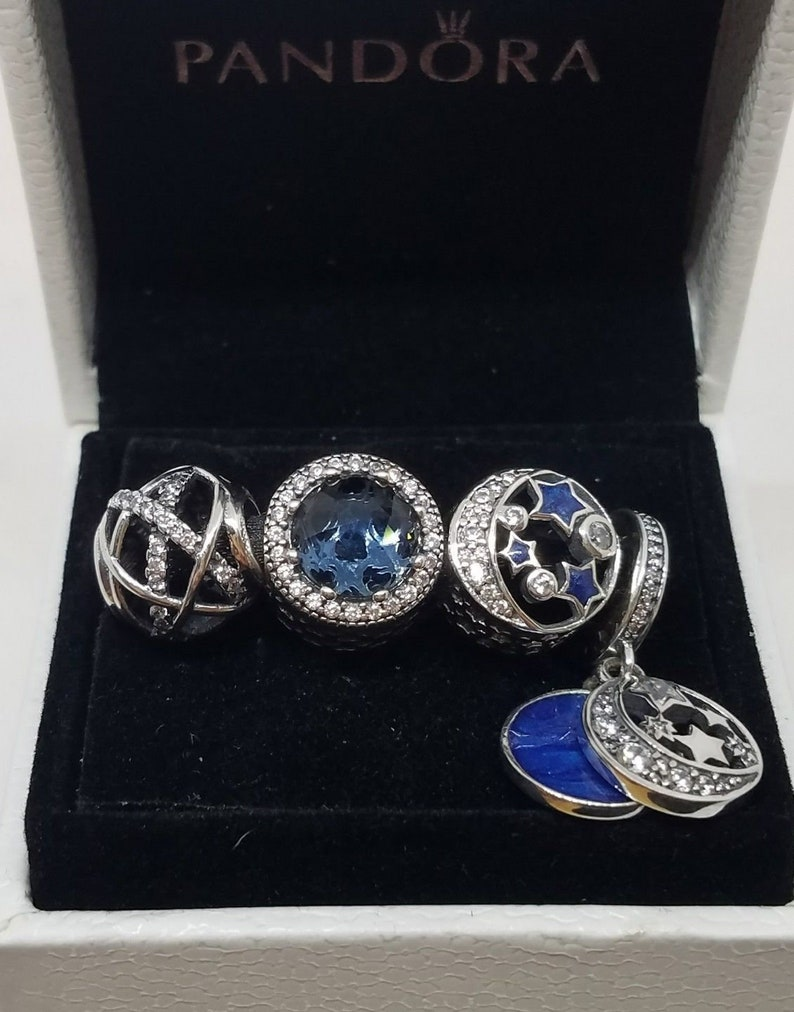 88b47fdd7 With BOX 4 pcs PANDORA Vintage Night Sky Charm 791992CZ | Etsy