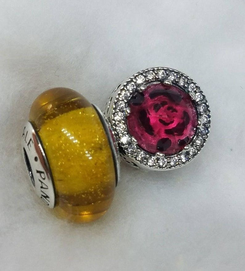 bc99a7a1d Set beauty and the beast Belle disney Pandora murano red | Etsy