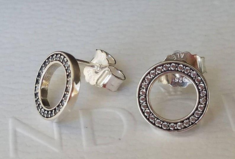 74e050345ccbe6 NewAuthentic Pandora Silver Forever Pandora CZ Stud Earrings | Etsy
