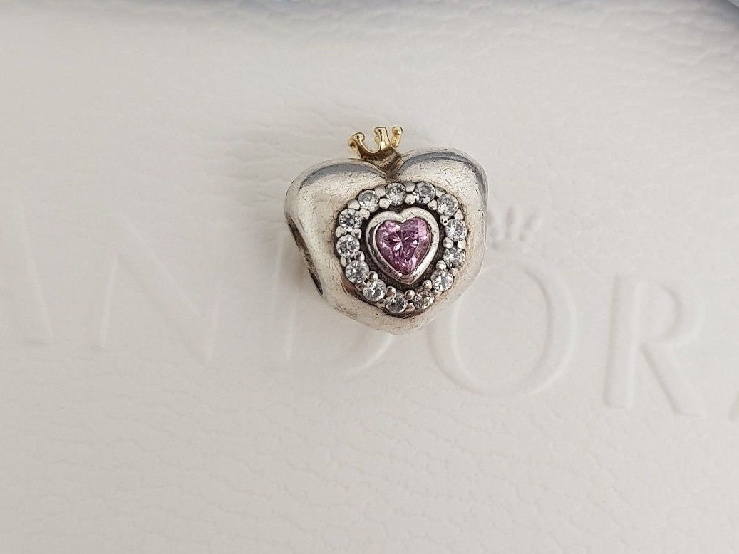 5fdb17d36 Authentic Pandora Pink CZ 'Princess Heart' Silver & | Etsy