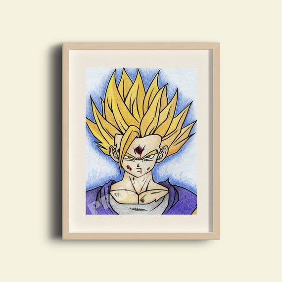 Super Saiyan 2 Gohan Print Goku Vegeta Trunks Gohan Goten Broly Frieza Piccolo Bulma Dragonballz Anime Fighter Drawing Super Saiyan Goku
