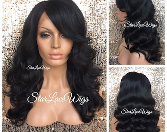 867debd51d7 Lace Front Wig - Human Hair Blend - Black - Brown - Body Wave - Wavy -  Layers - Bangs - Side Part - Heat Safe