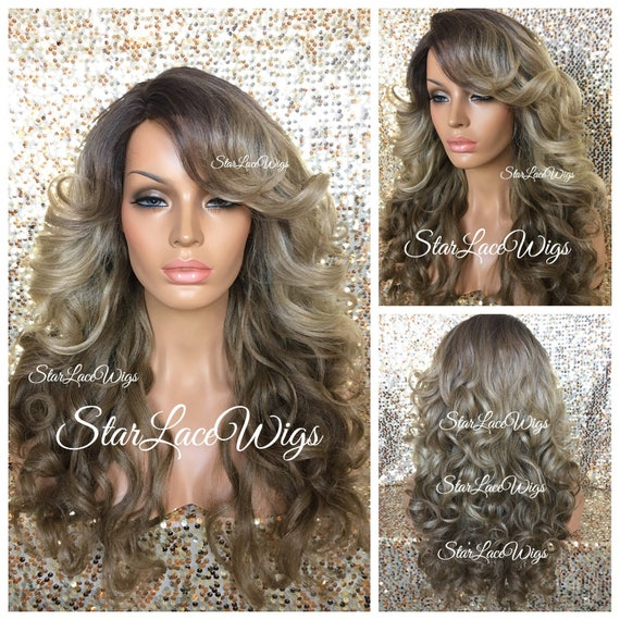 Long Curly , Honey Ash Blonde, Medium Golden Brown Wig , Ombre , Balayage ,  Bangs , Side Part , Heat Resistant Safe