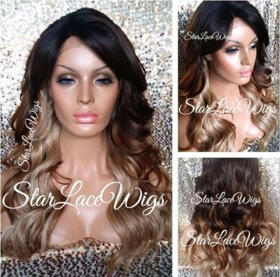 Long Brown Auburn Blonde Wavy Ombre Lace Front Wig Layers Etsy