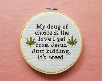 Weed Cross Stitch Pattern Weed Gift Idea Pot Leaf Cross Stitch Pattern PDF Instant Download Marijuana cross stitch weed cross stitch pattern