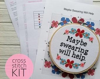 Maybe Swearing Will Help Cross Stitch Pattern Counted Cross Stitch Subversive Cross Stitch Kit Modern Cross Stitch Kit Beginner Cross Stitch