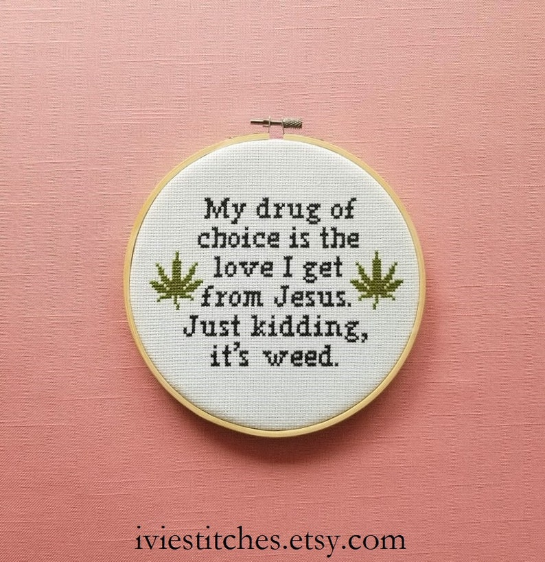 Weed Cross Stitch Pattern Weed Gift Idea Pot Leaf Cross Stitch image 0