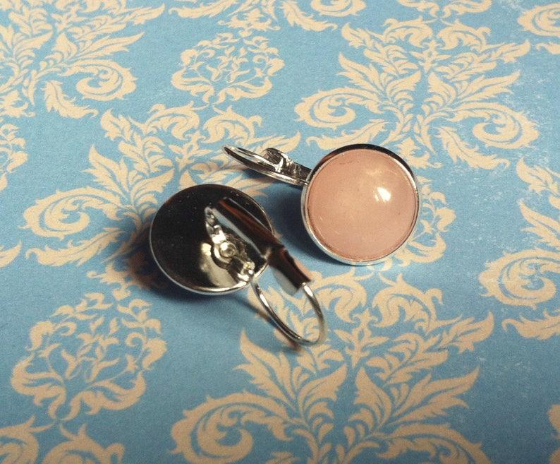 Pale Pink Gemstone Earrings Handmade Rose Quartz Earrings Cabochon Earrings Genuine Rose Quartz Jewelry