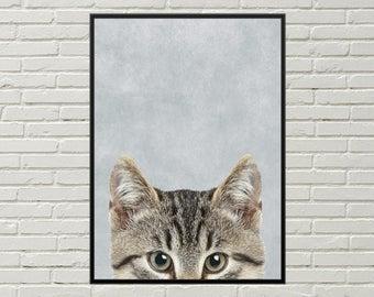 KITTEN digital print for nursery, kitten wall art, cute kitten print, printable poster, tabby kitten, cute cat picture, kitten art, cute cat