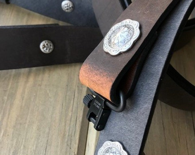Buffalo Leather Adjustable Rifle Sling, Pull-up Oil Tanned, 1.25 inch