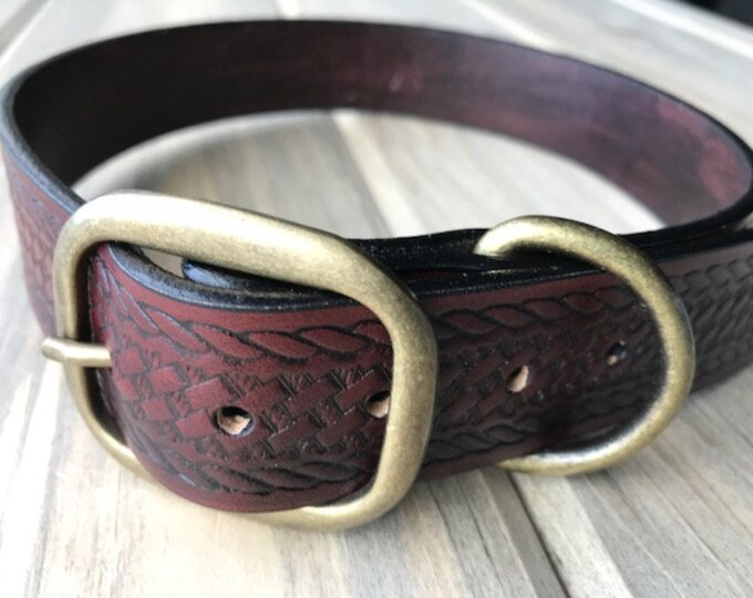 Mahogany Basketweave Dog Collar