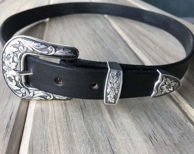 Black Leather Belt with Antique Silver Western Floral Buckle Set