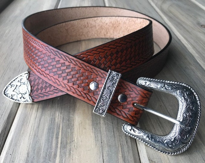 Western Leather Belt with Floral Buckle Set