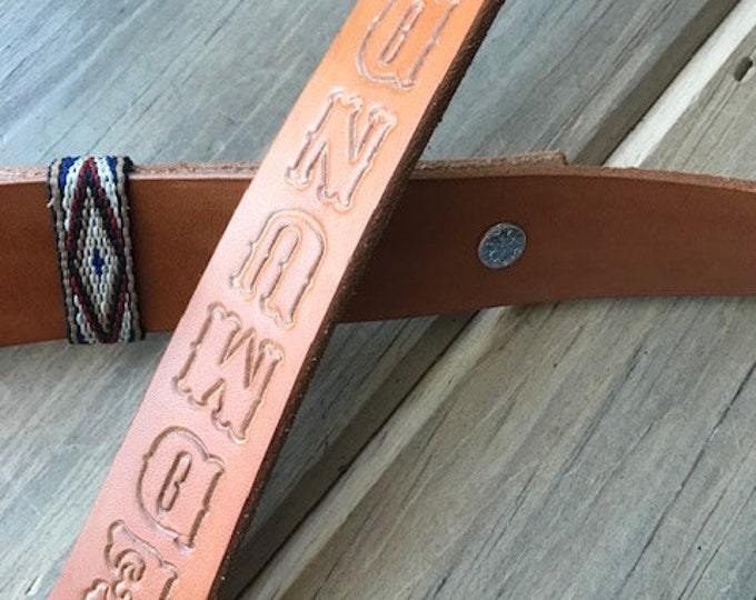 Personalized Leather Rifle Sling, Adjustable, Tan, 1.25-inch