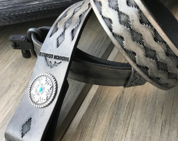 Leather Rifle Sling, Hand-tooled Gun Sling, Finished in Antique Smoke