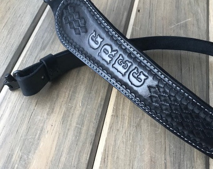 Customized Cobra Padded Leather Rifle Sling - Black with Smoke Gray Lettering