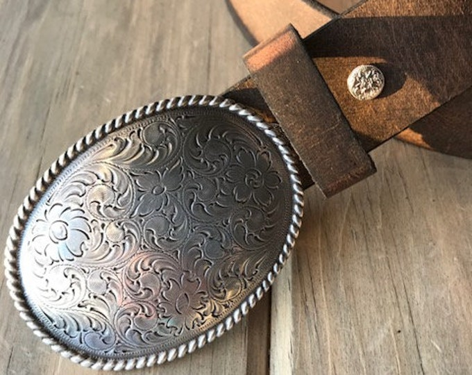 Crazy Horse Buffalo Leather Belt with Western Trophy Buckle