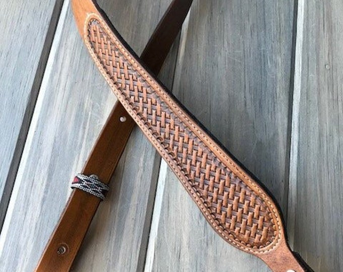 Cobra Padded Leather Rifle Sling - Basket Weave in Antique Tan