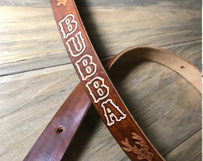 Personalized Leather Rifle Sling, Adjustable, You Choose the Stamp, Brown or Black, 1-inch