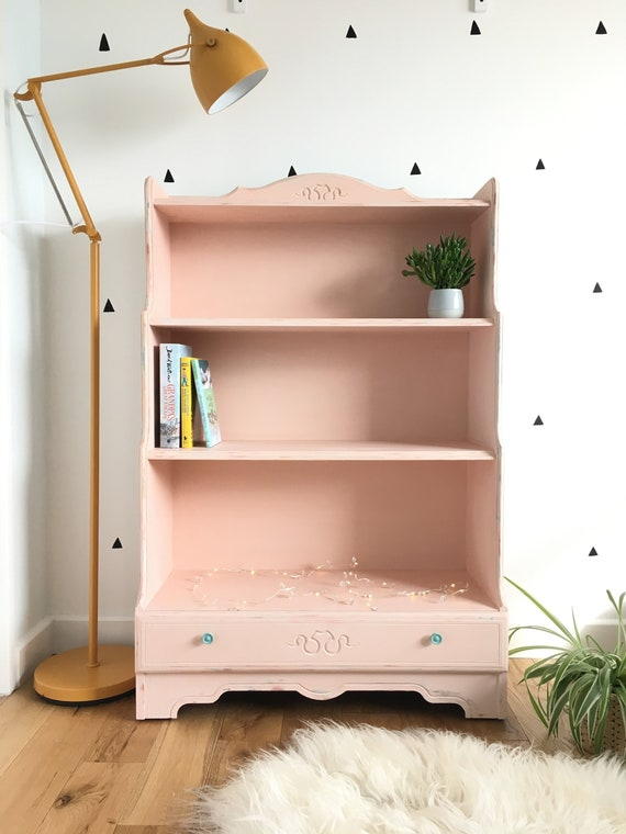 SOLD Painted Vintage Pink Bookcase Bookshelf Kids