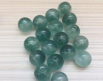 Jade round 8mm beads green or orange
