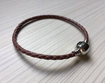 Rela Leather bracelet / Brown / Navy blue / Aqua
