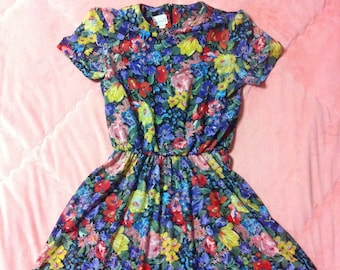 90s Vintage Colorful Floral Mini Dress, 90s Vintage Colorful Floral Dress, 90s Floral Dress, Floral Mini Dress