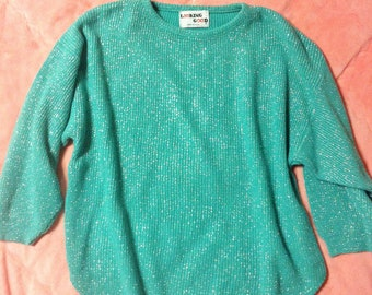 Vintage Mint Green Glitter Sweater, Vintage Green Sweater, Mint Green Sweater, Glitter Sweater, Fancy Holiday Sweater