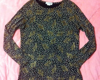 Vintage Black and Gold Leopard Print Mini Dress, Vintage Leopard Print Dress, Leopard Dress, Leopard Print Mini Dress