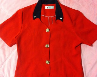 90s Vintage Cherry Red Button Up Blouse, Vintage Red Blouse, Vintage Mod Blouse, Mod Fashion, 90s Vintage Red Blouse