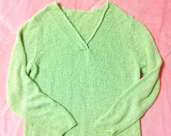 90s Vintage Lime Green Sweater, 90s Vintage Sweater, Vintage Green Sweater, Vintage Lime Green Sweater