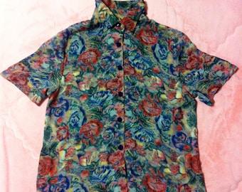 Vintage Tropical Floral Print Button Up Shirt Blouse, Vintage Floral Blouse, Vintage Floral Button Up Blouse