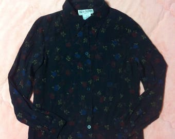 Vintage Black Floral Button Up Shirt Blouse, 90s Vintage Floral Blouse