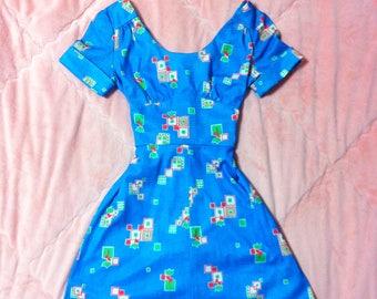 1960s Vintage Retro Mod Print Dress, 60s Vintage Retro Mod Floral Dress, 60s Blue Dress, 60s Mod Dress, Vintage Blue Dress