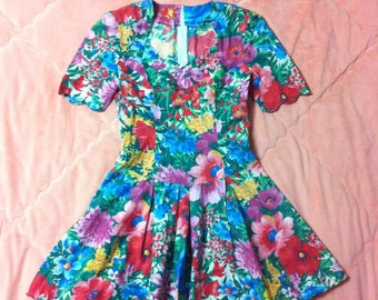 Vintage Colorful Rainbow Floral Dress, Vintage Floral Dress, Rainbow Floral Dress, Vintage Colorful Dress, Floral Print Dress