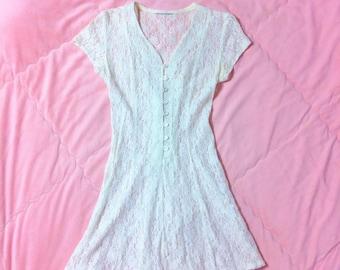 90s Vintage White Lace Dress, White Lace Dress, White Sheer Lace Dress, 90s White Dress, White Lace Mini Dress, 90s Vintage Dress, Minidress
