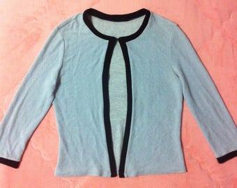 Vintage Pastel Blue Cardigan Top, 90s Vintage Light Blue Cardigan, 90s Vintage Pastel Cardigan