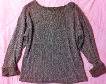 90s Vintage Speckled Sweater, Vintage Marled Ribbed Knit Sweater, Vintage Maroon Sweater, Vintage Ribbed Sweater