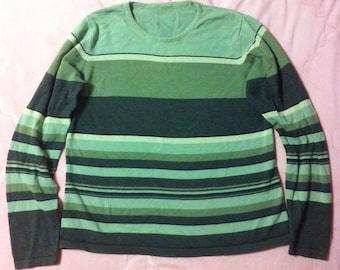 90s Vintage Green Striped Sweater, Vintage Green Multicolored Striped Sweater, 90s Vintage Striped Sweater