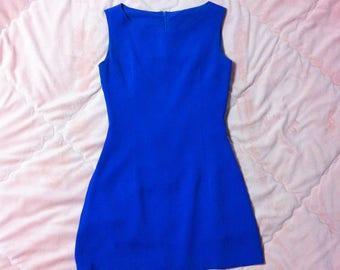 90s Vintage Blue Shift Dress, Blue Shift Dress, Vintage Shift Dress, Blue Mini Dress, 90s Blue Dress, Blue Dress