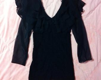 80s 90s Vintage Black Dress, Off Shoulder Black Dress, Vintage Black Mini Dress, 90s Vintage Black Dress, Mini Dress, Vintage Mini Dress