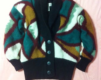 80s Vintage Abstract Patterned Cardigan, 80s Vintage Retro Oversized Cardigan, Vintage Wool Cardigan Sweater, Mohair Wool Sweater