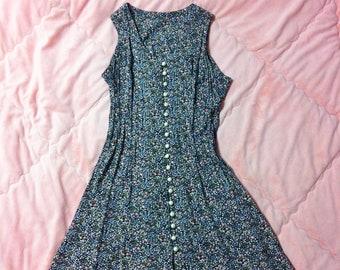 90s Vintage Floral Dress, 90s Black Floral Dress, 90s Floral Dress, Ditsy Floral Print Dress, 90s Fashion, Vintage Floral Dress