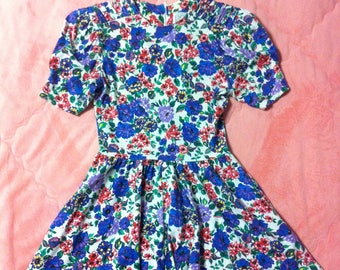Vintage Colorful Floral Mini Dress, 80s 90s Vintage Floral Dress, Vintage Floral Dress, Colorful Floral Print Dress