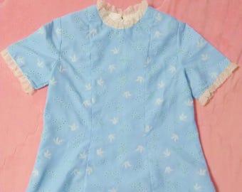 1960s Vintage Pastel Blue Dress, 60s Vintage Novelty Print Dress, 60s Vintage Pastel Dress